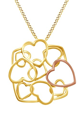 AFFY Multi Heart Fashionable Pendant Necklace in 14k Yellow Gold Over Sterling ()