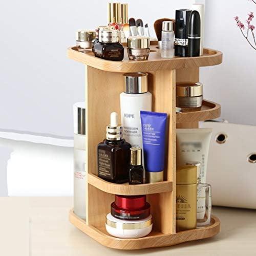 化粧品収納ボックス 回転式化粧品収納ボックス多層大容量ラックスキンケアディスプレイラックリムーバブルソリッドウッド素材ウッドカラー JAHUAJ
