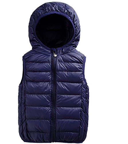 Beiduoxiong Boys Zip Puffer Down Vest Kids Girls Hooded Padding Sleeveless Clothes Coat Down Puffer Jacket Breathable Padded Top Dark Blue 3 Years Old