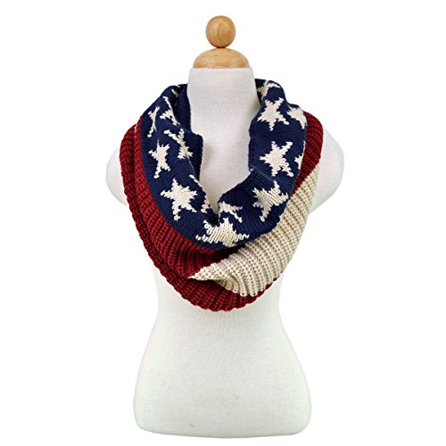 TrendsBlue Stars & Stripes US Flag Style Winter Knit Infinity Loop Circle Scarf