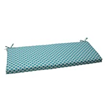 Pillow Perfect Outdoor/Indoor Hockley Teal Bench/Swing Cushion, Green, Blue