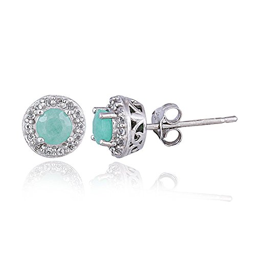 (Sterling Silver synthetic-emerald & White Topaz Halo Stud)