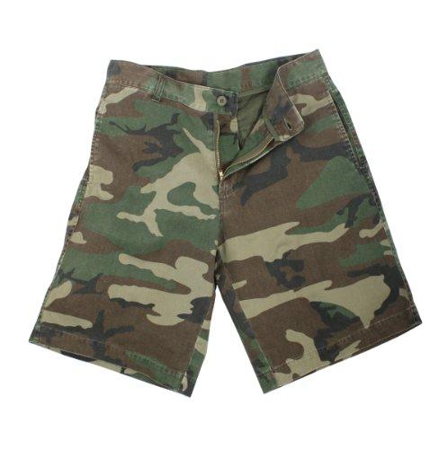 Woodland Camouflage 5 Pocket Vintage Flat Front Cargo Shorts
