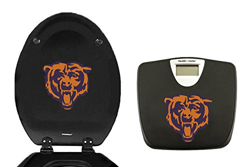 2-pc set! Black Digital Scale and a Black Elongated Toilet Seat Featuring Your Favorite Football Team Logo! (Bears)
