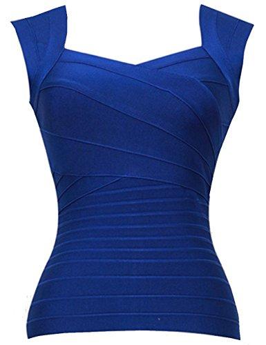 Maketina Women Bandage Tops Sexy Strap Sleeveless Bodycon Tank Top Vest Blue L
