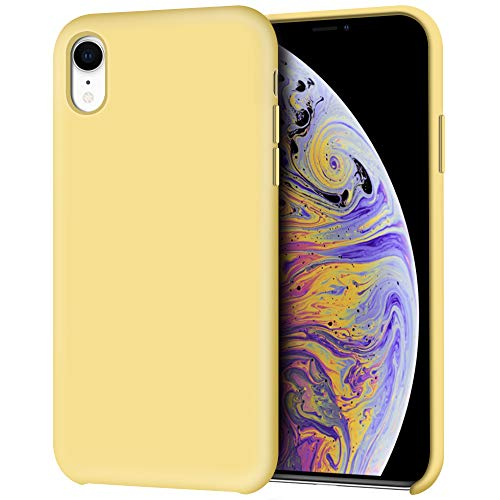 iPhone XR Case, Anuck Anti-Slip Liquid Silicone Gel Rubber Bumper Case with Soft Microfiber Lining Cushion Slim Hard Shell Shockproof Protective Case Cover for Apple iPhone XR 6.1 2018 - Yellow