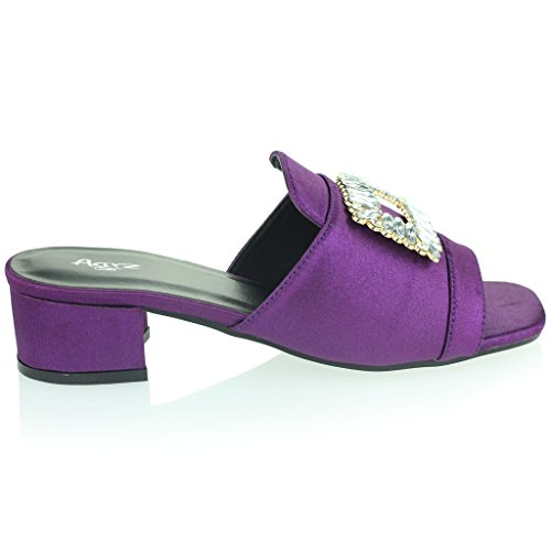Mujer Señoras Broche Detalle Diamante Ponerse Tacón de Bloque Noche Casual Fiesta Sandalias Zapatos Tamaño Púrpura