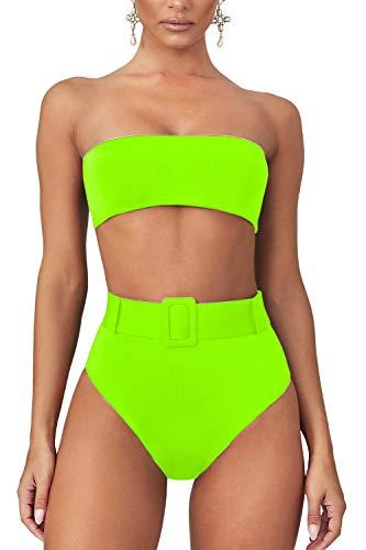 LEISUP Women's Strapless Tube Top Bikini High Waisted High Leg 2PCS Swimwear,Neon Yellow S