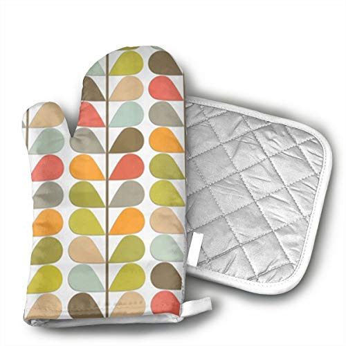 GUYDHL Retro Mid Century Modern Pattern Oven Mitt 9 X 4 and Pot Holder 6 X 6 Oven Mitts and Potholders for Unisex - 2 Pair