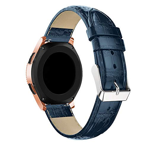 (TenCloud Replacement Croc Embossed Leather Band Quick Release for Samsung Galaxy Watch(42mm) SM-R810/SM-R815 (Night Blue))