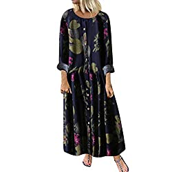 FEDULK Womens Plus Size Maxi Dress Leaves Floral Print O Neck Long Sleeve Pleated Classic Vintage Dress