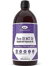 Premium Pure C8 MCT-olie | Verhoogt ketonen 3x meer dan andere MCT's | Hoogste 99,8% zuiverheid | Veganistisch en ketovriendelijk | Gluten & Dariy vrij | BPA-vrije plastic fles van 1000 ml | Caprylzuur | Ketosource®