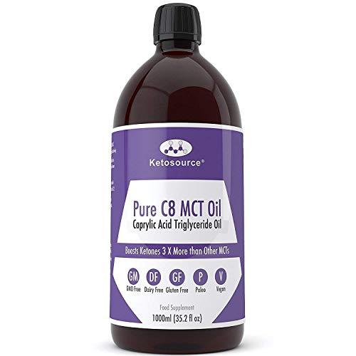 Premium C8 MCT Öl | 3X Mehr Keton-produzierende C8 als MCT-Öle | Reines Caprylsäure Triglyceride mit 99,8% | Paleo & Vegan | BPA Freie Flasche in Plastik | Ketogen und Low Carb | Ketosource®