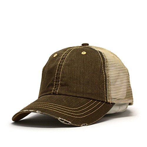 Back Cadet Cap - Vintage Year Washed Cotton Low Profile Mesh Adjustable Trucker Baseball Cap (Distressed Brown/Khaki)