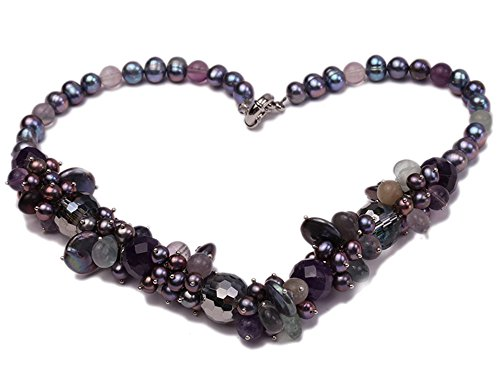 JYX 7-8mm Black Round Freshwater Pearl with Amethyst Crystal Necklace 19