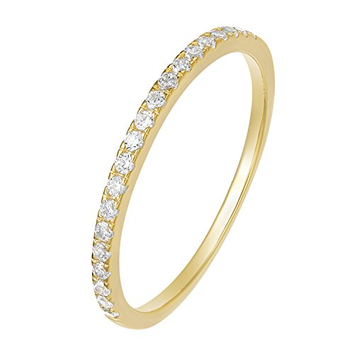 EAMTI 925 Sterling Silver Wedding Band Cubic Zirconia Half Eternity Stackable Engagement Ring (3: Gold-Half Eternity, 7)