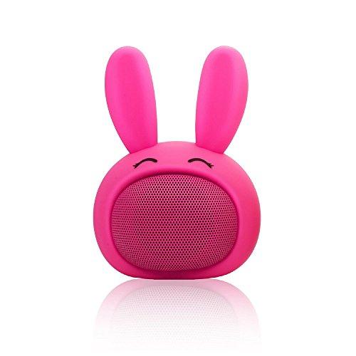 Mini Bluetooth Speaker Wireless Portable Cute Bunny with Squishy Ears (Fuschia Pink)