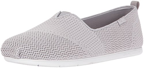 BOBS from Skechers Women's Plush Lite-Engineered Knit Ballet Flat, Gray, 8 M US