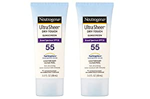 Neutrogena Ultra dHXCr Sheer Sunscreen, Dry-Touch SPF 55, 3 Fluid Ounce (2 Pack)