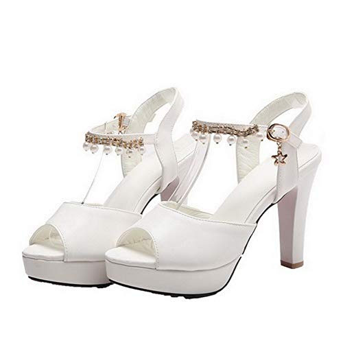 VogueZone009 Heels Toe Open CCALP015436 Pu Women Buckle Solid White Sandals High rqxRrwTI
