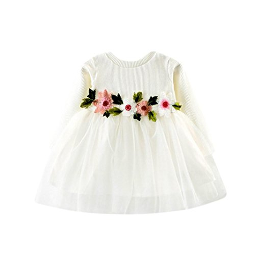 Girls Tops,Haoricu 2017 Hot Sale Autumn Cute Toddler Girl Mesh Floral Long Sleeve Baby Princess Dress (6M, White)