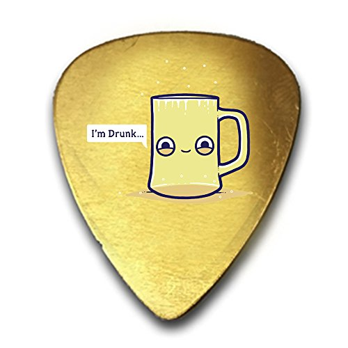 Randy Otter Drunk Empty Cup Pun Humor 3D Color Printed Guitar and Bass Pick Gift Brass