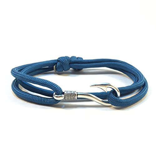 Handmade Solid Color Paracord Bracelet with Fish Hook (Caribbean Blue) (Silver Caribbean Hook Bracelet)