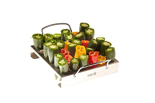 Jalapeno Grill Rack for your Barbecue or Oven (Works Well with other Peppers and Chicken Legs / Wings) - By BBQ - Aid