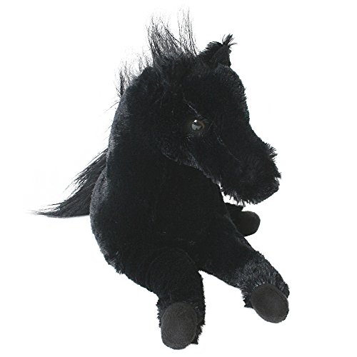 TE-Trend Horse Plush horse embedded Pendant black or brown white Stuffed animal with 33 cm long - Black