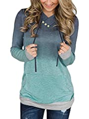 """Alaroo Womens Casual Ombre Pullover Hoodies Sweatshirts With Button And Pocket  Size Guideline: Small: Bust:39.0""""/90cm, Length:26.6""""/67.5cm, Sleeve Length:23.2""""/59cm, Hem Size:31.9""""/81cm, Shoulder:17.2""""/43.75cm  Medium: Bust:40.9""""/104cm, Leng..."""