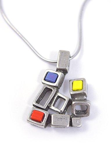 Modernist Modernist Collection - Modernist Collection: Pewter Cubist Pendant, Color Version