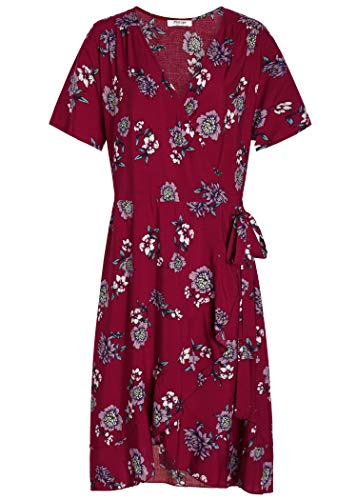 Pintage Women's Floral Wrap Dress Bohemian Flounce Dress 2X Wine Chrysanthemum