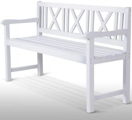 Compradetodobarato - Banco para jardin o terraza madera blanco 141 x 85 x 51cm: Amazon.es: Hogar