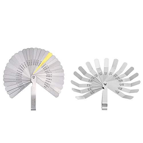 32 Blades Steel Feeler Gauge Dual Marked Metric and Imperial Gap Measuring Tool ZUZUAN 1 Pack Feeler Gauge