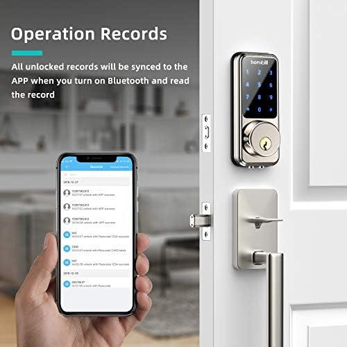 [2021 Newest] Smart Lock Keyless Entry Deadbolt Door Locks, Digital Electronic Bluetooth Deadbolt Door Lock with Keypad, Smart Locks Front Door Work with APP, Code and eKey Auto Lock for Homes Hotels