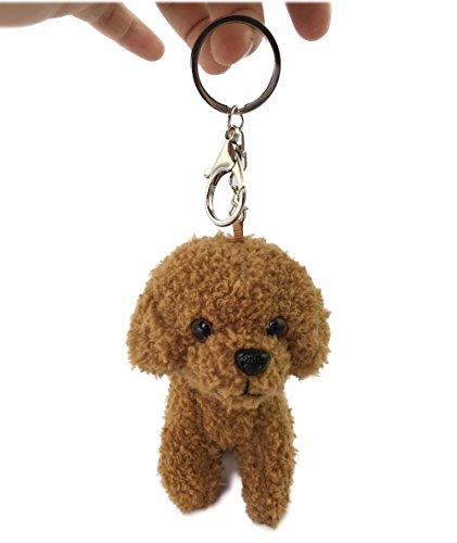 Puppy Dog Stuffed Animal Backpack Clip Plush Toy Keychain (Brown Teddy)