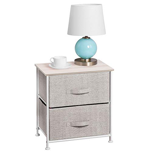 mDesign Night Stand/End Table Storage Tower - Sturdy Steel Frame, Wood Top, Easy Pull Fabric Bins - Organizer Unit for Bedroom, Hallway, Entryway, Closets - Textured Print, 2 Drawers - Linen/Natural