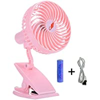 Battery Operated Clip on Fan, Happy-top 360 Degree Rotation Portable Rechargeable 3 Speeds Mini Desk Fan Clip and Table Fan Handheld Outdoor Fans Personal Cooling Fans Adjustable Head (Pink)