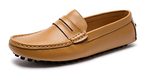 Men's Casual Classic Shoes Boat Comfort Driving Penny Loafers Fashion Flats On Brown Slip Genuine Leather ARTISURE Moccasins CRHTqdw8wx