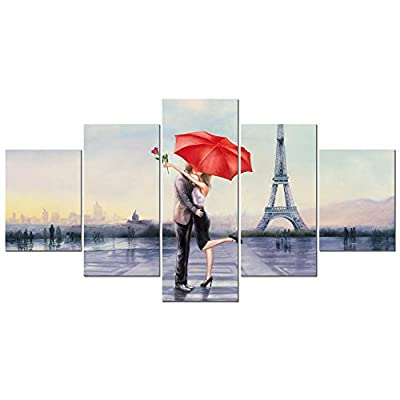 Pyradecor Large Modern 5 Piece Wrapped Giclee Canvas Prints Love in Paris by Oil Paintings Reproduction Pictures on Canvas Wall Art for Living Room Bedroom Home Decor Valentine's Gift L - 5 panels High definition modern large giclee red umbrella canvas paintings wall art prints is stretched and framed for home decorations wall decor. Each panel has a black hook already mounted on the wooden bar ready to hang out of box. Decorative pictures photo printed on high quality canvas. A perfect Christmas and New Year gifts for your relatives and friends. Canvas prints set size:12x16inchx2pcs,12x24inchx2pcs,12x32inchx1pc (30x40cmx2pcs,30x60cmx2pcs,30x80cmx1pc). - wall-art, living-room-decor, living-room - 41UnmHbAWML. SS400  -