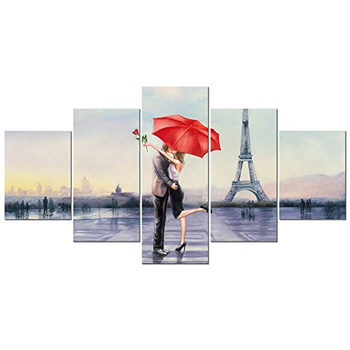 Pyradecor Large Modern 5 Piece Wrapped Giclee Canvas Prints Love in Paris by Oil Paintings Reproduction Pictures on Canvas Wall Art for Living Room Bedroom Home Decor Valentine's Gift L