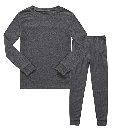 (Family Feeling Boys Girls Kids Pajamas Solid Colors 2 Piece Pajama Pants Set 100% Cotton Grey Size 10)