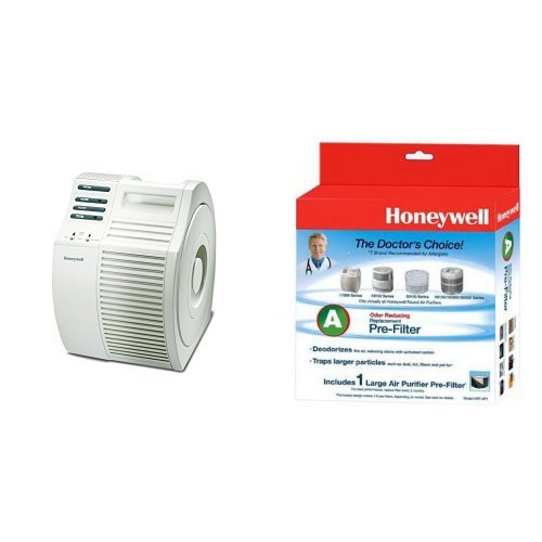 Honeywell 17000-S QuietCare True HEPA Air Purifier, 200 sq ft and Honeywell Filter A HRF-AP1 Universal Carbon Air Purifier Replacement Pre-Filter Bundle