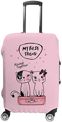 スーツケースカバー トラベルケース 荷物カバー 弾性素材 傷を防ぐ ほこりや汚れを防ぐ 個性 出張 男性と女性2匹のかわいい猫は良い友達です