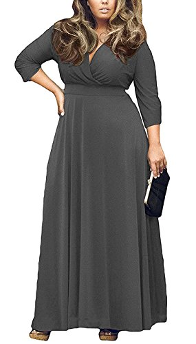 AM CLOTHES Womens V-Neck 3/4 Sleeve Plus Size Evening Party Maxi Dress 2X Deep - Size 4 3 Plus Wrap Sleeve Dress
