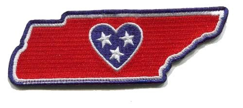 Tennessee Album - Heart in Tennessee Embroidered Sticker - A threaded sticker similar to a patch that can be instantly applied on Fabric, Plastic, Glass, Wood. Embroidered, Sticky-back-Indoor use-Reusable or Permanent