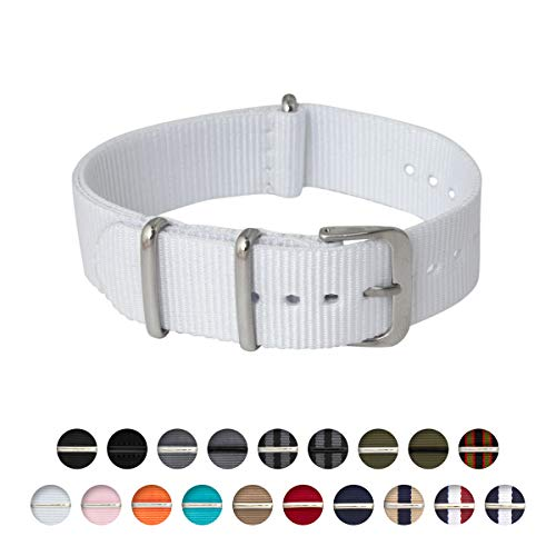 | Nylon NATO Straps | Choice of Color and Size (White, 18mm) ()