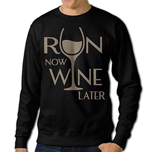 Run Now Wine Later Men's Sweatshirt,Long Sleeve For Man (Sweater Holder Bottle Wine)