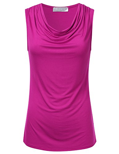 FLORIA Women's Cowl-Neck Ruched Draped Sleeveless Stretchy Blouse Tank Top Magenta L