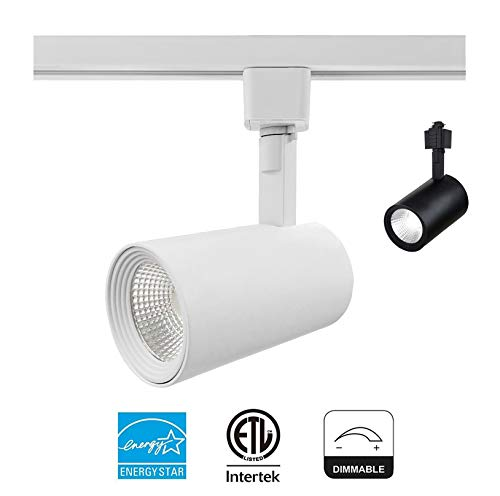 LED Track Lighting Head CRI90+ 4000K Natural White Dimmable 40° Spotlight 9W 600LM Adjustable Track Lighting Fixture For Retail Wall Art Exhibition|ENERGY STAR ETL-Listed |White Finish Halo ()